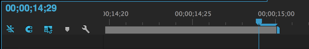 Set Premiere Pro timeline work area Out point to 00:00:14:29