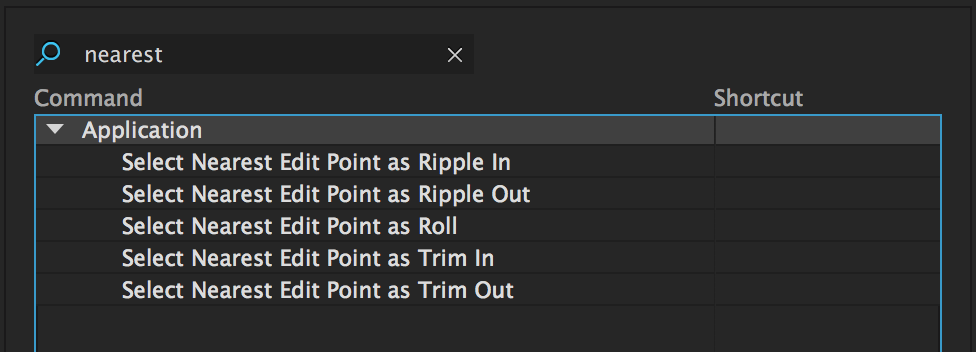 "Assign shortcuts to ""Select Nearest Edit Point..."""