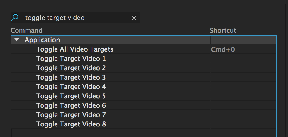 "Assign shortcuts to ""Toggle Target Video..."""