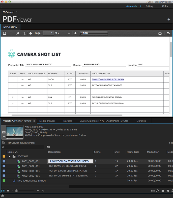 Copy & Paste PDFviewer text into Premiere Pro's metadata fields