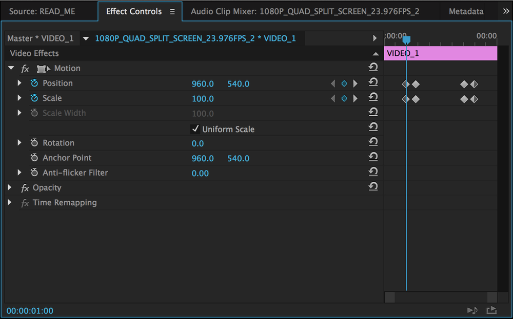 Customize Quad Split Screen keyframes