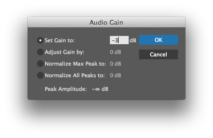 "Select clip and press ""G"" to open Premiere Pro's Audio Gain controls."