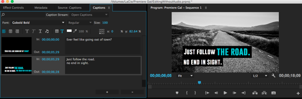How to edit open captions in premiere pro cc 20153 premiere bro you can make the text bigger change the font and color simply highlight the word you want to make bigger and change the font size ccuart Choice Image