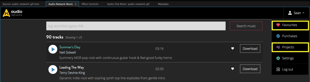 audio-network-main-menu