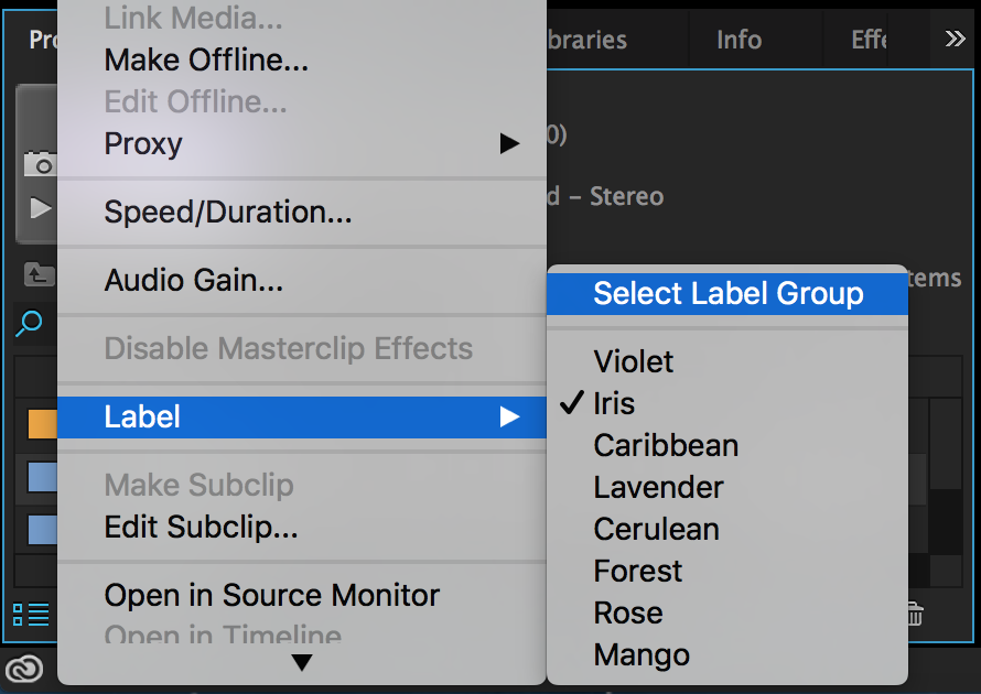 Label colors can be found by right-clicking selected clip(s). Select Label Group is also an option.