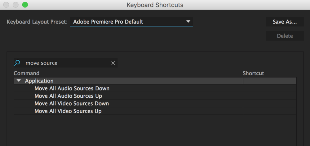 Assign keyboard shortcuts to Move All Video/Audio Sources Up/Down.