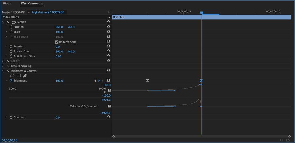 Change keyframe interpolation using the Velocity Graph in the Effect Controls panel.
