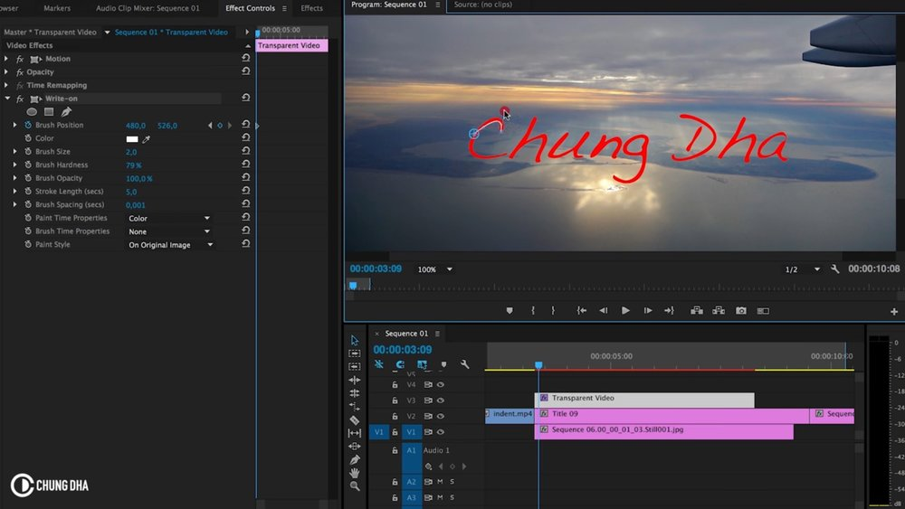 Chung dha easy self writing text tutorial in adobe premiere pro keyframe the path of the write on stroke on the text use bezier handles to finesse curves ccuart Image collections