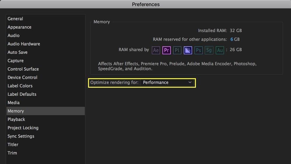 Optimize rendering should be set to Performance