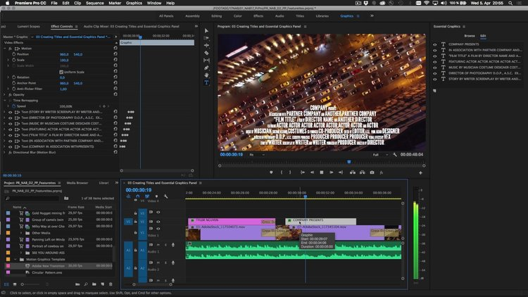 Premiere pro cc 20171 spring creativity made simple not experience a modern intuitive way to create titles and motion graphics in the essential graphics panel new to premiere pro cc in the april 2017 release of ccuart Images