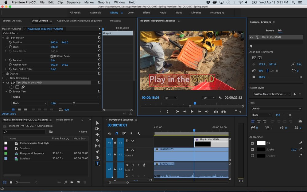 Create titles with the new type tool and essential graphics panel in multiple font sizes one text layer premiere pro ccuart Choice Image