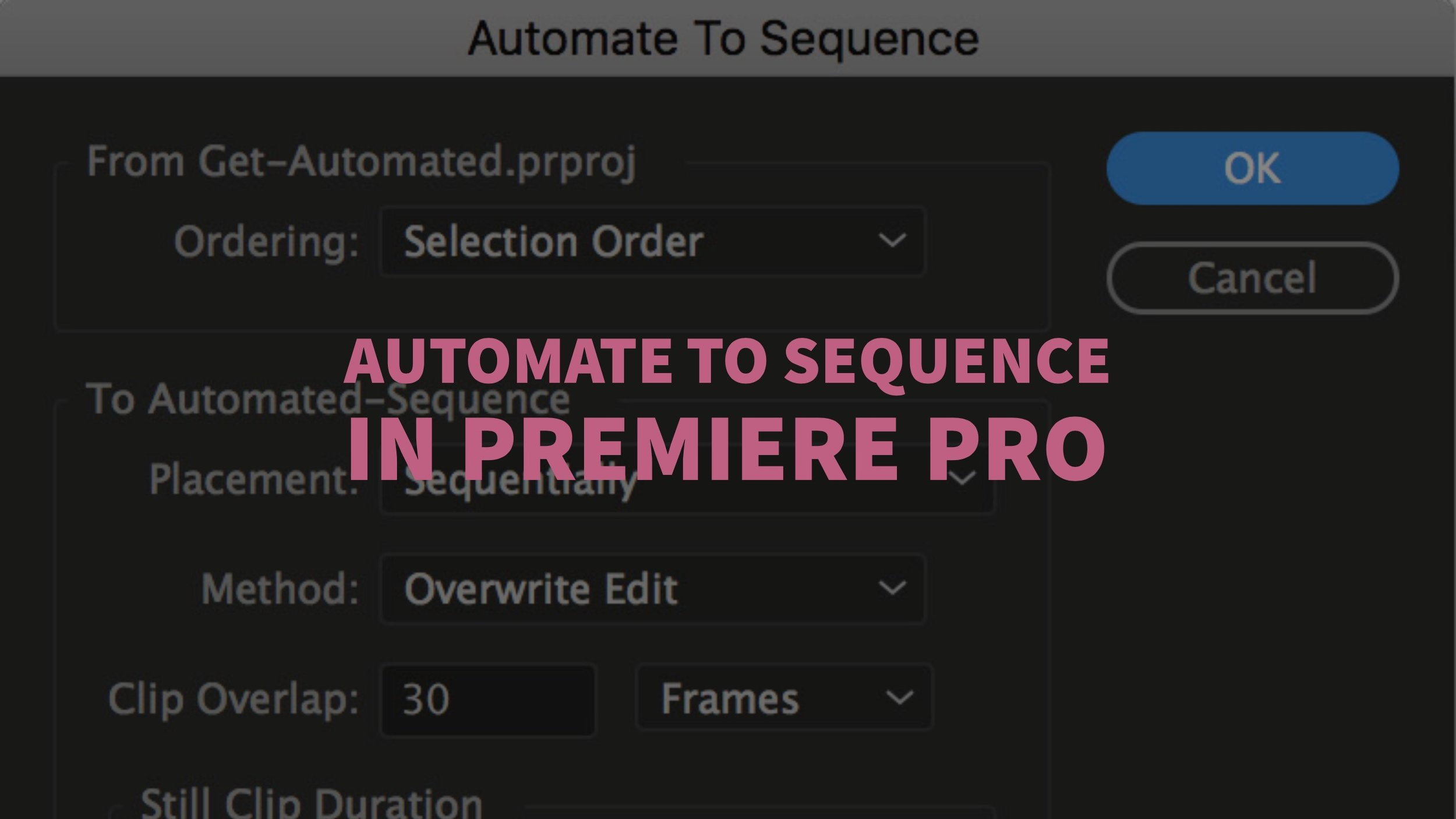 how to change video sequence premiere
