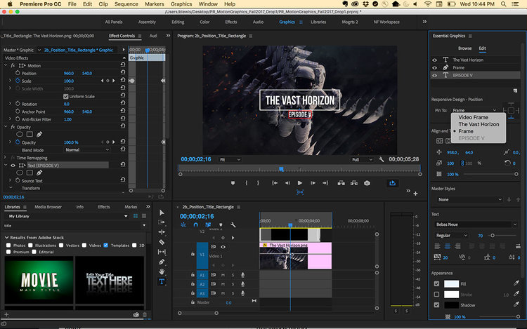 Premiere pro cc 2018 preview 5 must know new features premiere bro graphics templates include responsive design the ability to manipulate multiple graphics layers and more coming soon to adobe premiere pro cc ccuart Choice Image