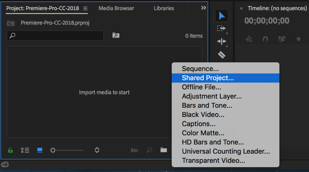 Premiere pro cc 2018 preview 5 must know new features premiere bro create share project premiere pro cc 2018g ccuart Choice Image