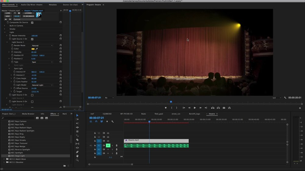 ... Stage Light filter creates beautiful volumetric lighting using multiple integrated spotlights or point light sources right within Adobe Premiere Pro CC.  sc 1 st  Premiere Bro & Boris FX: Continuum Premium Filters for Adobe Premiere: Stage Light ...