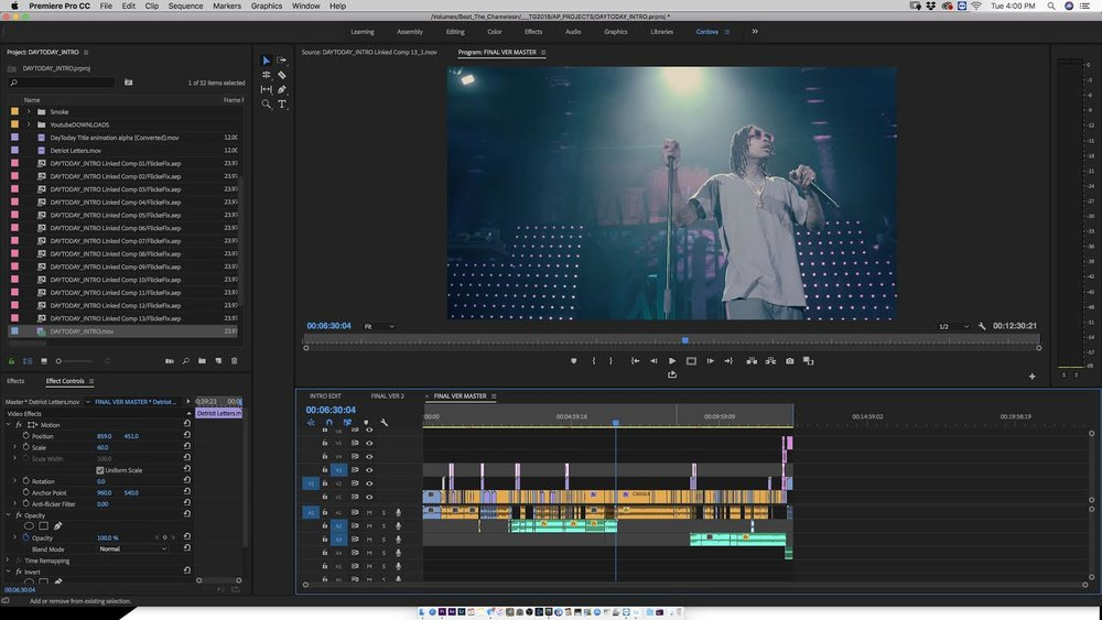 "Chris Cordova's Premiere Pro project for ""Doin What I Love"".  Via Chris Cordova"