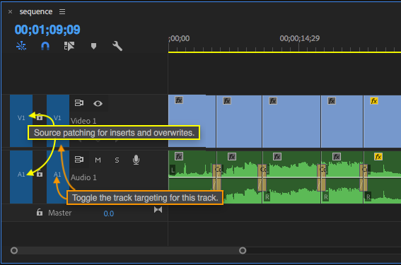 Source assignments are on the left, track targets on the right.