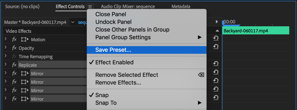 Save the mirrored grid as a preset