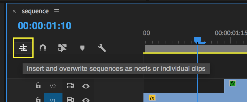 Toggle this button to white to bring in sequences as un-nested clips.