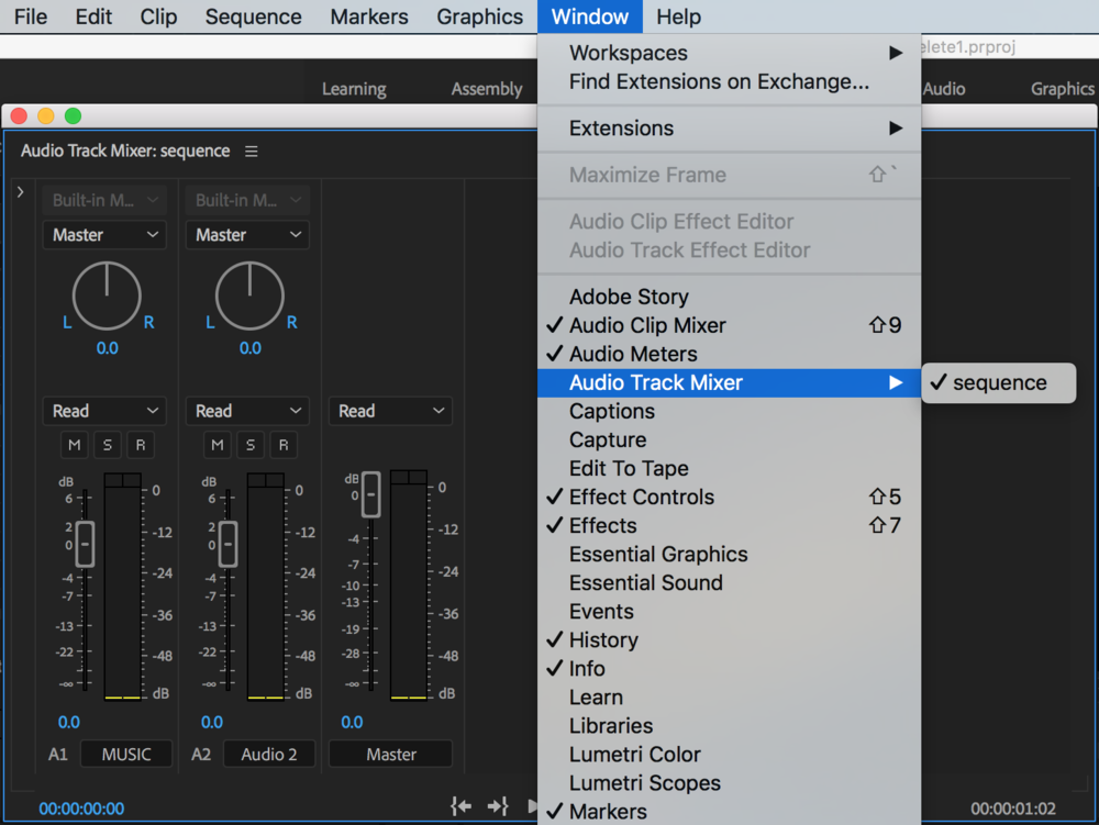 Use the Audio Track Mixer to apply track-based audio effects