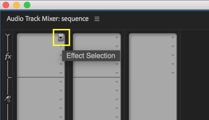 Patch in audio effects using the Effect Selection drop down