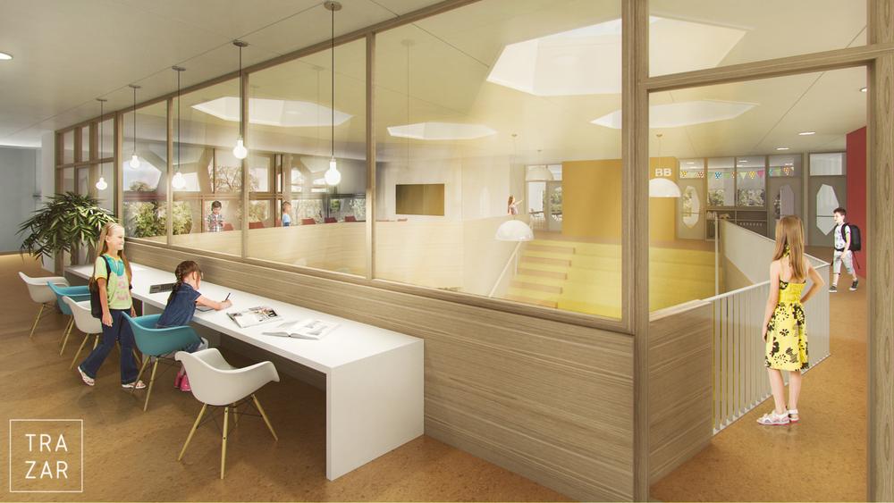 Artist impressie interieur utiliteitsbouw.