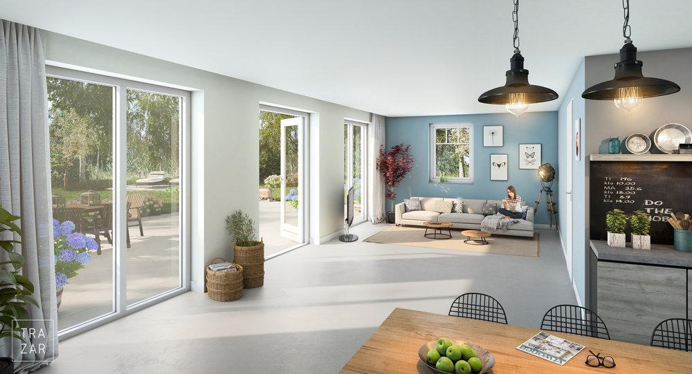 Artist impression interieur nieuwbouw met eetkamer, , zitkamer, keuken en tuin (9).jpg
