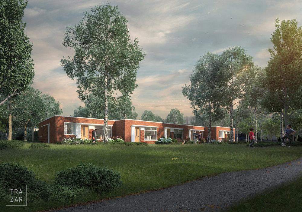 Impressie laagbouw woningen Stroinkslanden  Enschede in bos.jpg