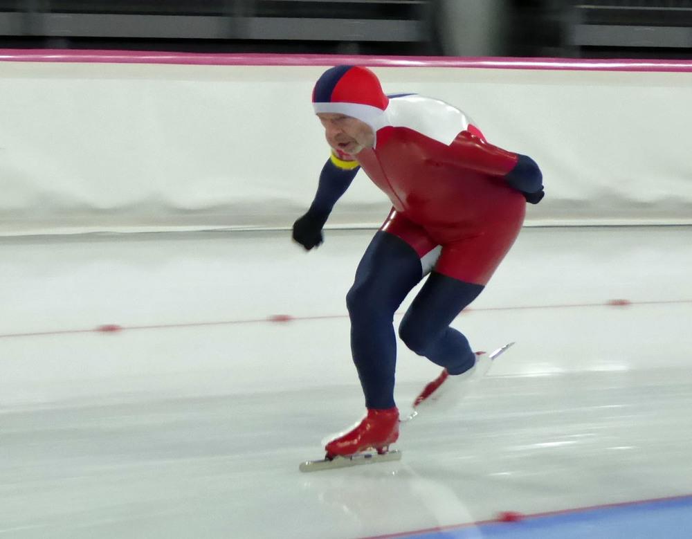 Arne Kjell Foldvik/NOR på 5000m underveis mot ny veteranverdensrekord sammenlagt. (Foto: Sven-Åge Svensson)