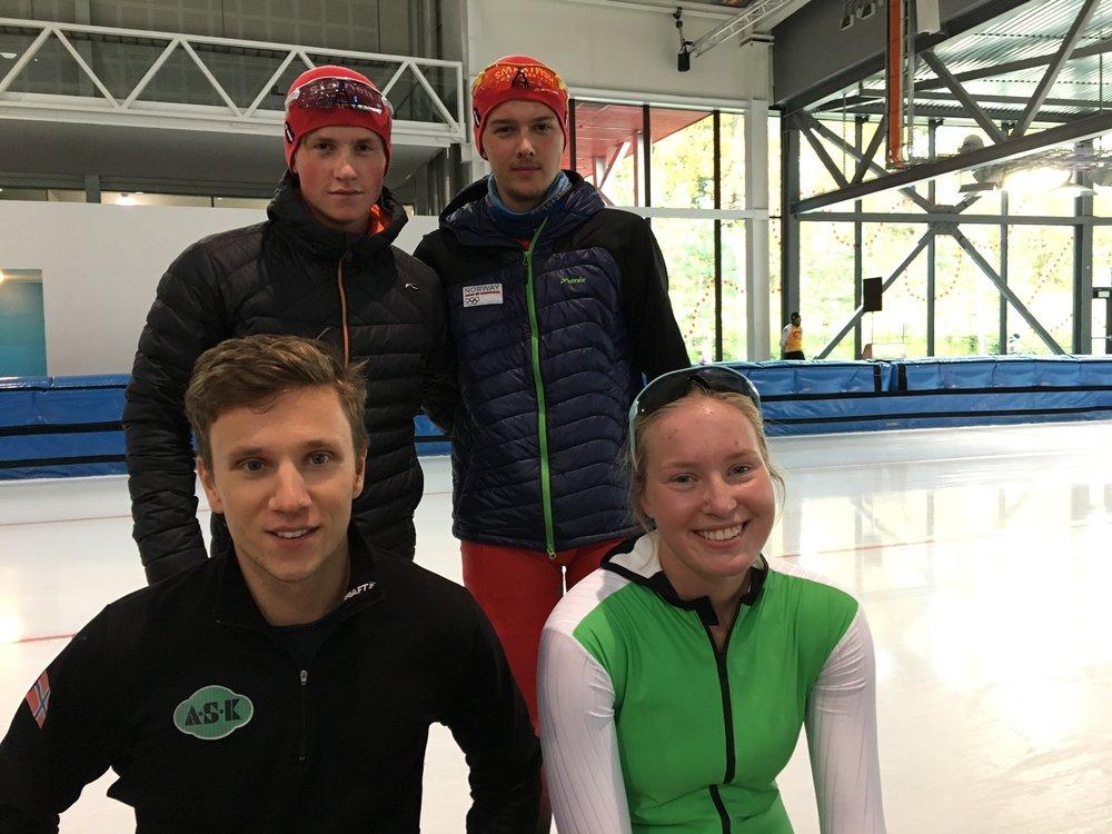 ASK`s for tiden raskeste løpere. Marius, Allan (bak) Simen, Ragne (foran)
