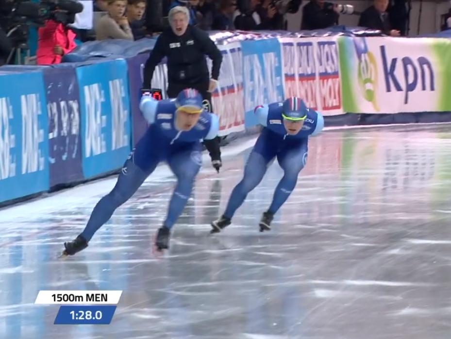 Allan foran Sverre på vekslingssiden (bilde fra NRK TV).