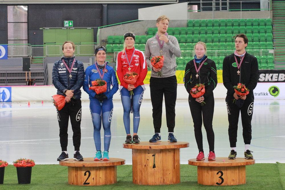 Kombinert pall for 1000m herrer og 5000m damer. Sverre, Sofie, Camilla, Håvard, Ragne og Allan.