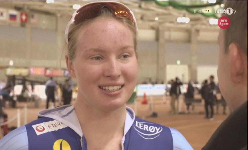 Ragne intervjues på NRK TV etter sin strålende 1500 meter.