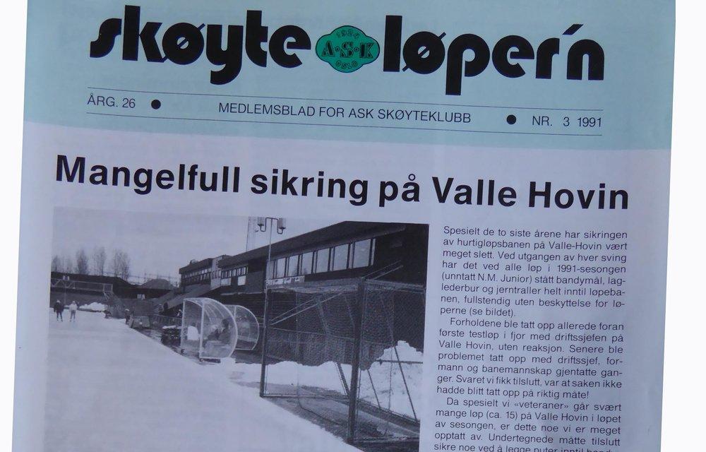 """Forsiden av """"Skøyteløper'n"""" høsten 1991!"""