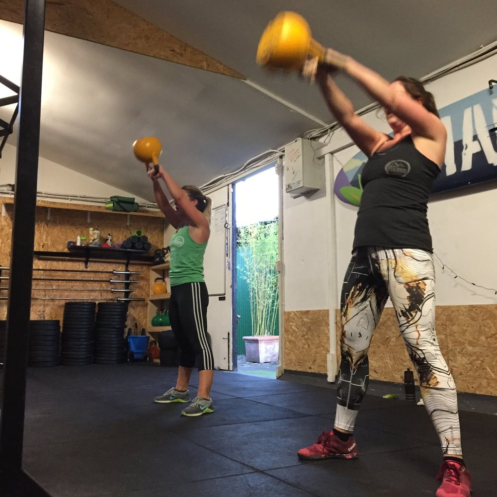 Some Kettle bell Swings with my training buddy Caoimhe.