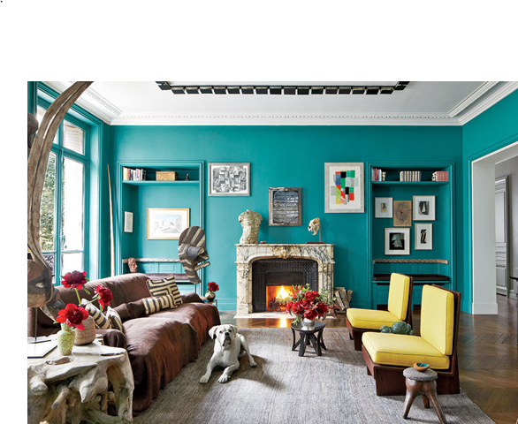 Love how the yellow brings the statement green and the bronze sofa throw together. No need to be scared of yellow.