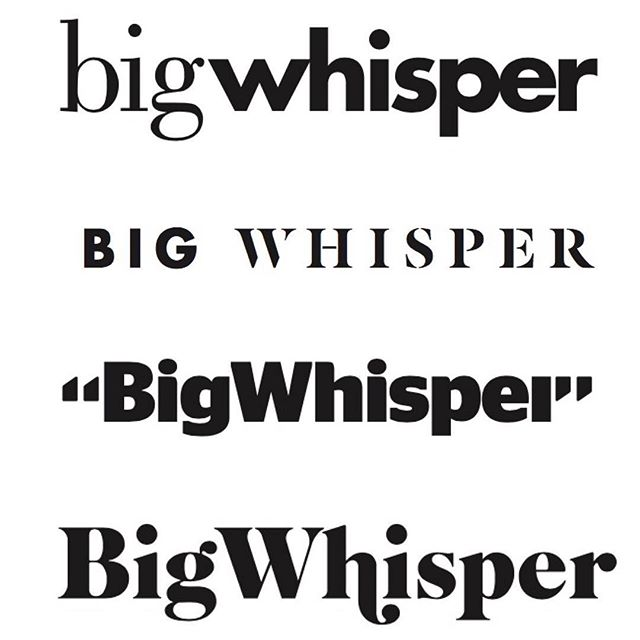 We're creating a newsletter called Big Whisper to deliver learnings, resources and insights for entrepreneurs who are living and creating the #process. These logos were designed by our incredibly talented friend and colleague @aarontaylorwaldman. Would love your thoughts! Which logo do you like the best (1 being the top 4 being the bottom)? (If interested in receiving Big Whisper, the sign up box is on our homepage http://project-ag.co (link also in bio!))