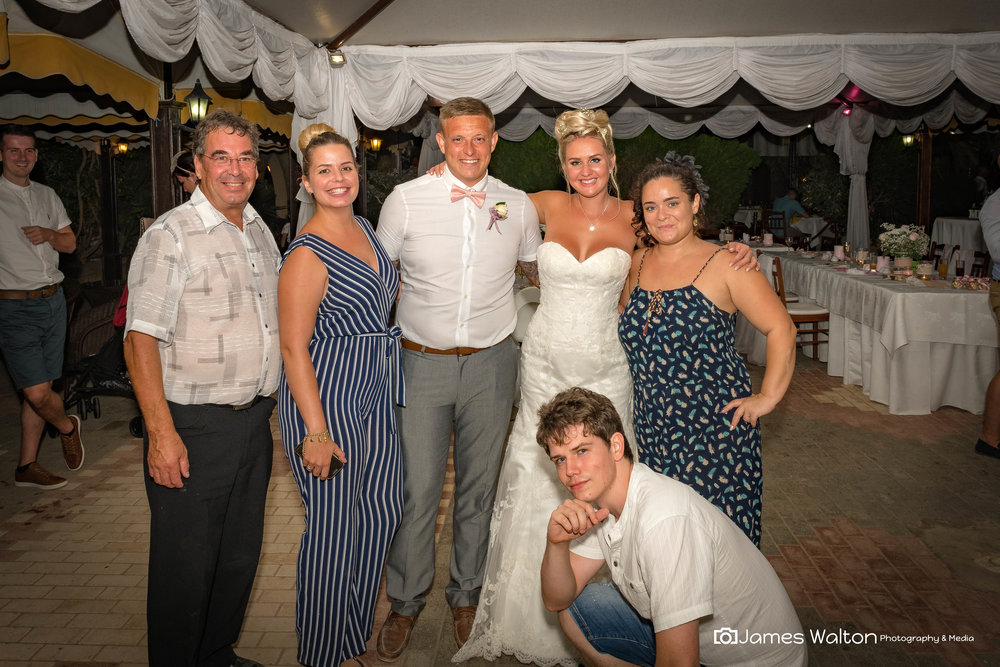 Michael, Lorna, Kaela and James with Bride & Groom Ben & Rebecca Wilbraham -