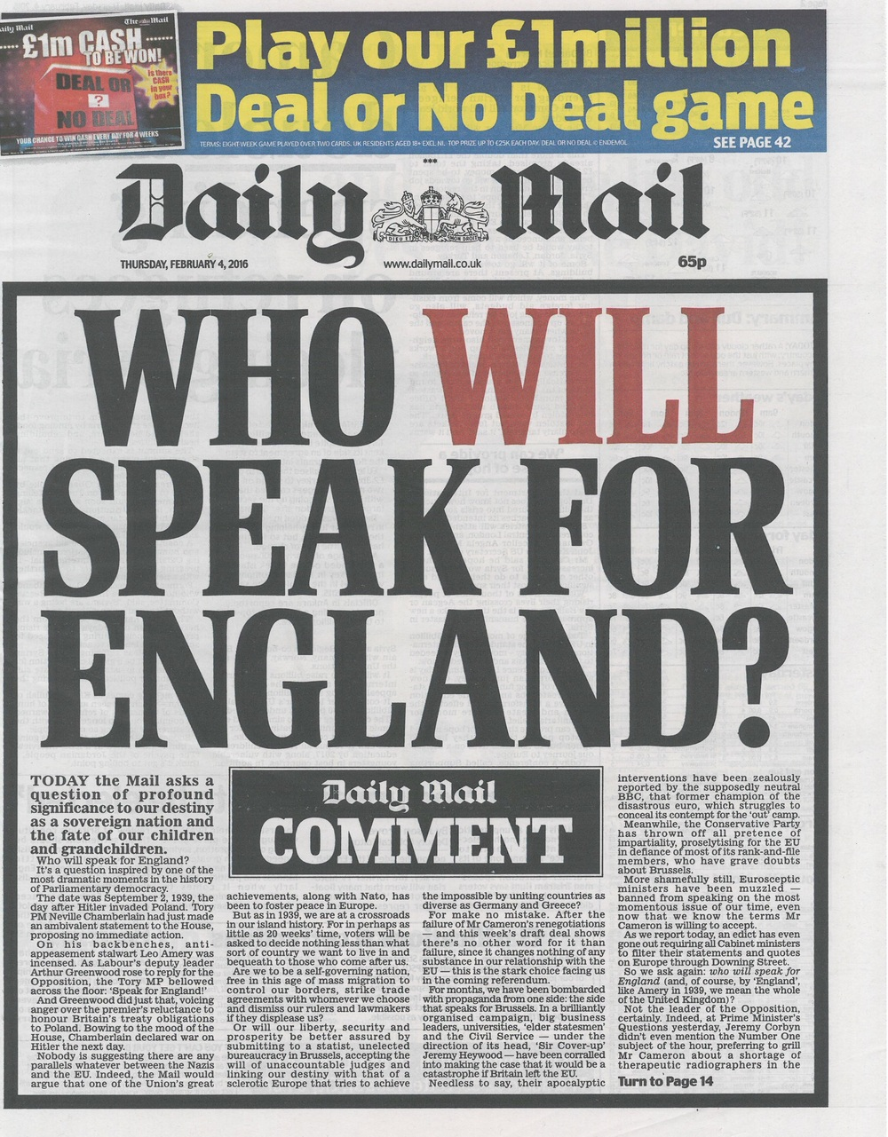 Today's Mail front page.