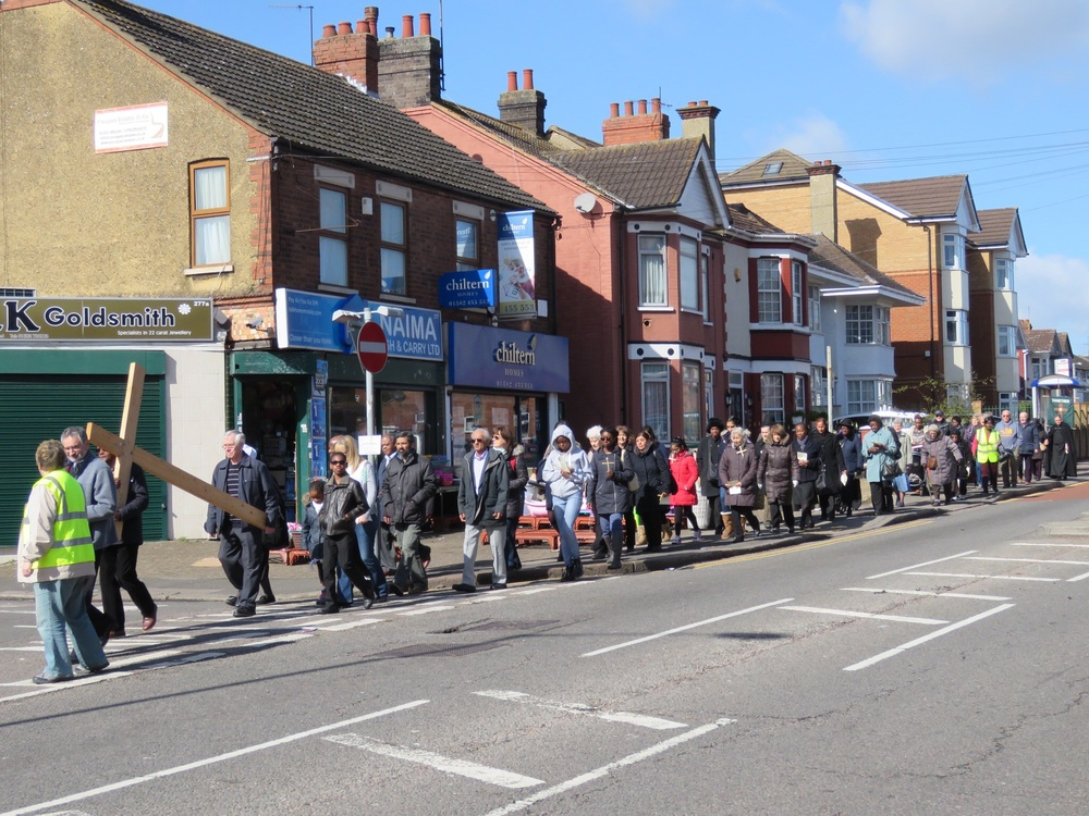 Bury Park Churches begin their Good Friday walk of witness.