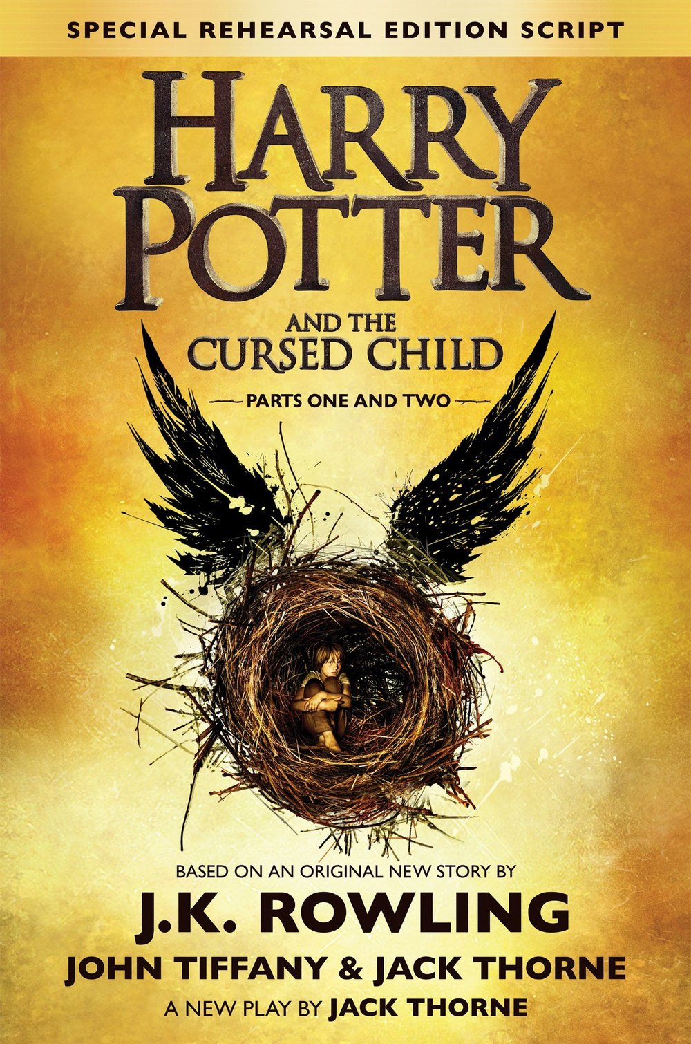 Harry Potter and the Cursed Child is a two-part West End stage play written by Jack Thorne based on an original new story by Thorne, J.K. Rowling and John Tiffany.[1] Previews of the play began at the Palace Theatre, London on 7 June 2016,[2] and it was scheduled to officially premiere on 30 July 2016. The rehearsal script, not a novelisation of the play,[3] was released on 31 July 2016 and became the eighth story set in the Harry Potter universe.[4] The story is set nineteen years after the events of Harry Potter and the Deathly Hallows and follows Harry Potter, now a Ministry of Magic employee, and his younger son Albus Severus Potter.