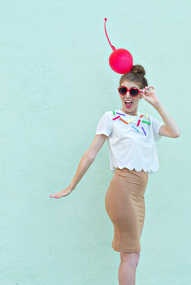Ice Cream Cone  : This costume even involves a pencil skirt, making it perfect for the office. Plus that sprinkle shirt is cute enough to wear even when it's not Halloween. (via   Studio DIY  )
