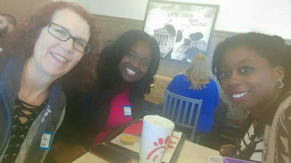 Eating at Chick-fil-a for the first time with my new friends Sis Ann and Sheena