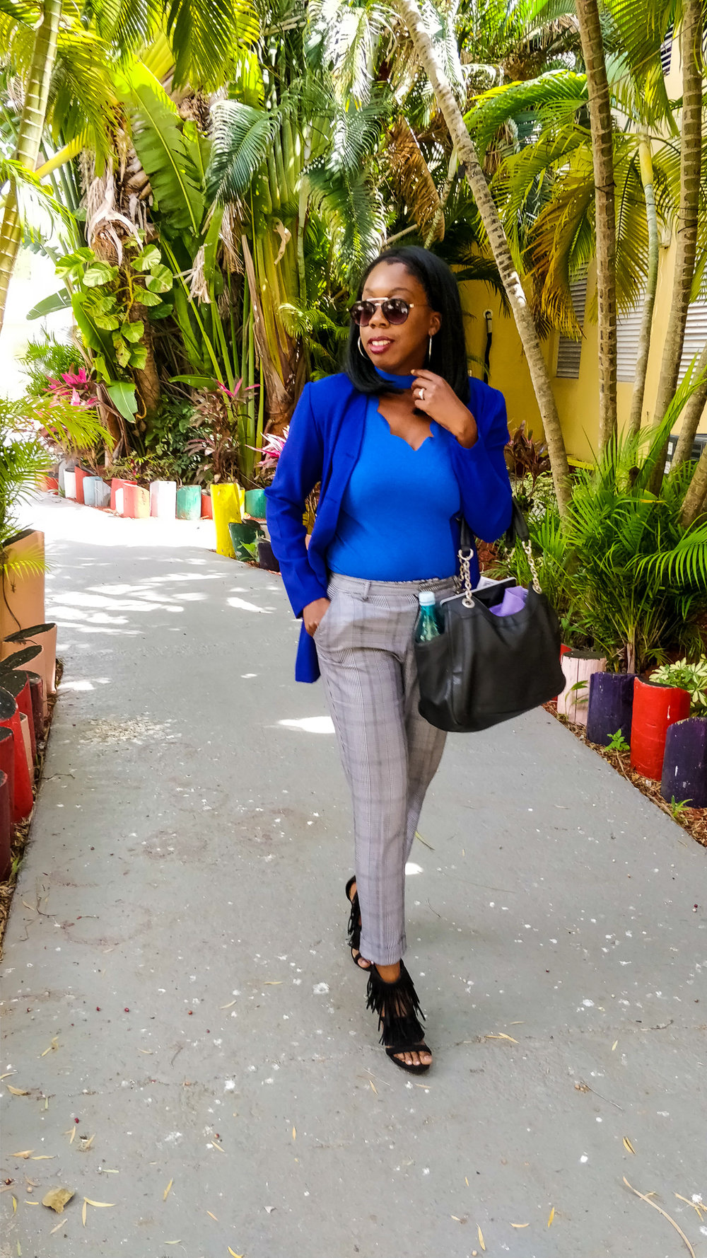 Jacket: Humane Society Thrift Store | Blouse: SHEIN ( available here ) | Trousers: H&M ( similar here ) | Shoes: Just Fab