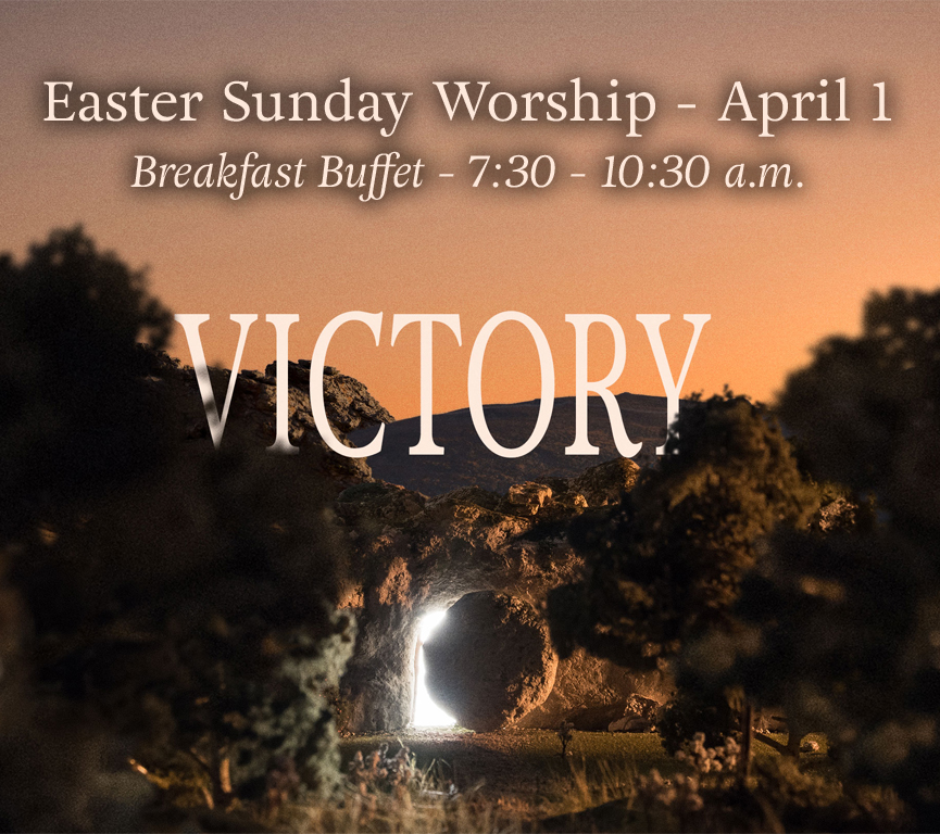 Join us for Easter Sunday as we celebrate the resurrection of Jesus Christ, our Savior! We will have a free breakfast buffet from 7:30 a.m. - 10:30 a.m. with services at 9:30 a.m. and 11:00 a.m. There will be no lifegroups that morning. We hope you and your family will join us.