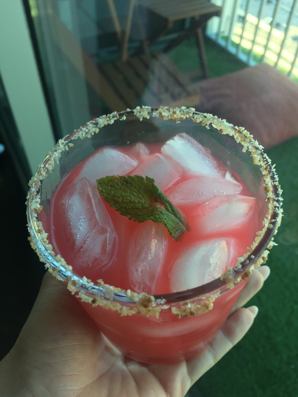 Raspberry Margarita with Habanero and Ginger Sea Salt