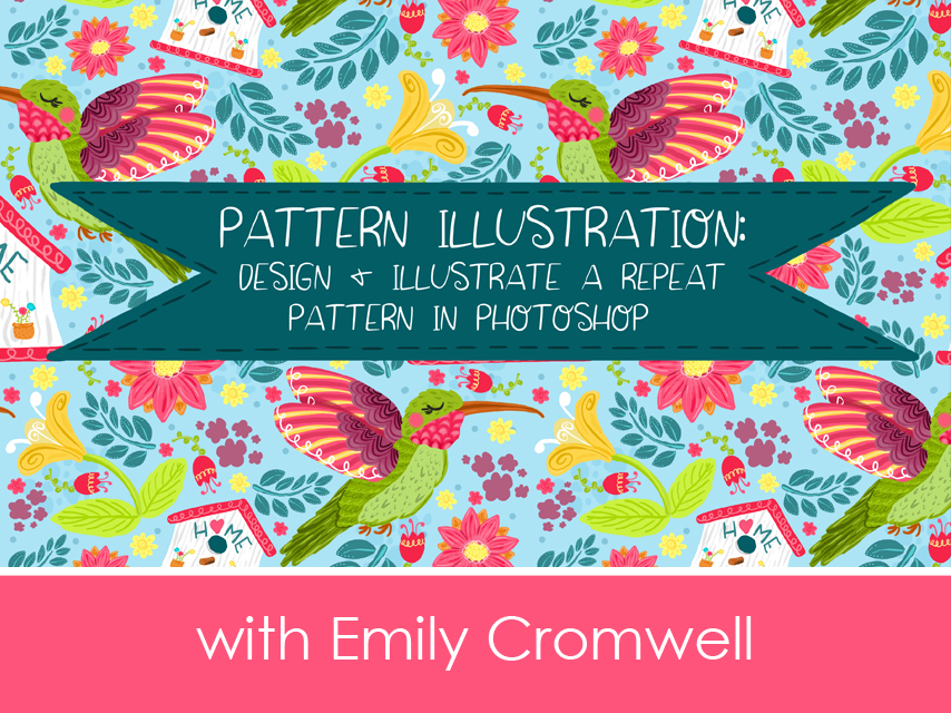 Pattern Illustration - In this class, you will learn my step by step process for turning hand drawn sketches into upbeat and colorful repeating patterns in Adobe photoshop. You will also learn about popular trends in the surface pattern design industry, what brushes I use, and what you can do with your pattern when you are all done creating it. This class is perfect for illustrators and artists, both beginner and experienced, as well as everyone who has a general interest in creating beautiful artwork!