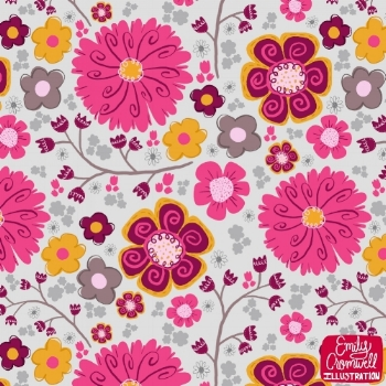 Whimsical Pink Florals Pattern