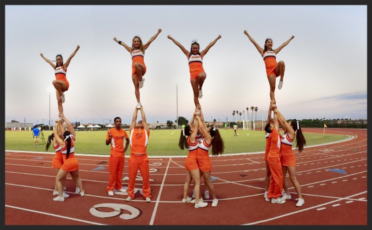 Nallely, one of the first iat4ss students, is supported by her fellow Bronco Cheerleaders.