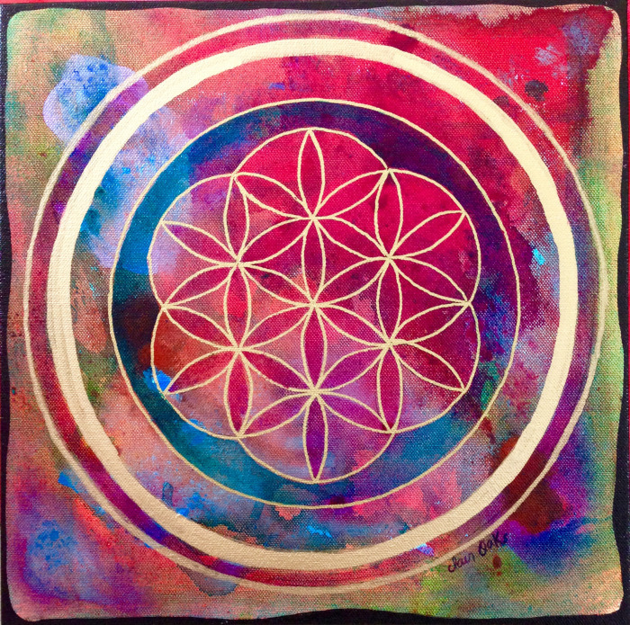 """Rose's Flower of Life 1"" 12"" x 12"""